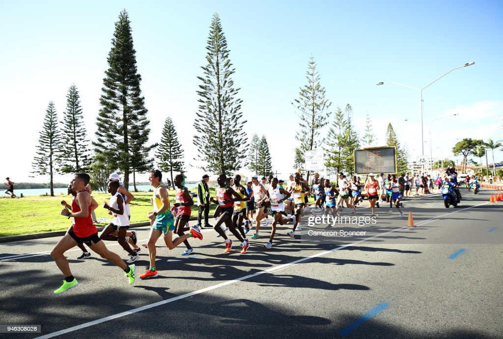 Athletes compete in the Men's marathon on day 11 of the Gold Coast 2018 Commonwealth Games at Southport Broadwater Parklands on April 15, 2018 on the Gold Coast, Australia.