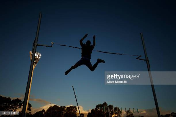 Athletes compete in the mens open pole vault during day six of the Australian Athletics Championships at Sydney Olympic Park Athletic Centre on March...