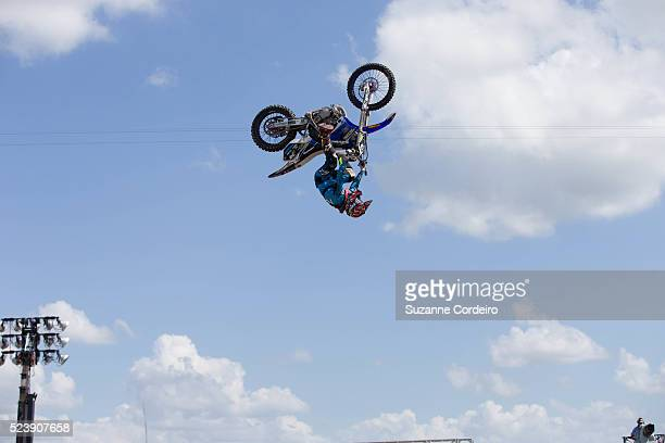 Athletes compete in the Moto X Speed Style competition during the X Games Austin at Circuit of The Americas on June 7 2014 in Austin Texas