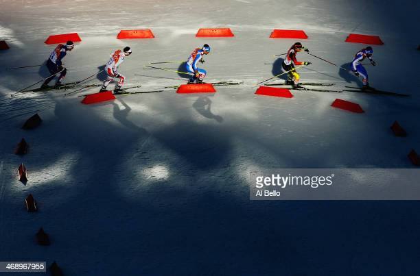 Athletes compete in the Nordic Combined Individual Gundersen Normal Hill and 10km Cross Country on day 5 of the Sochi 2014 Winter Olympics at the...