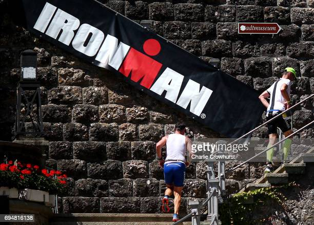 Athletes compete in the run leg of the race during Ironman 703 RapperswilJona on June 11 2017 in Rapperswil Switzerland