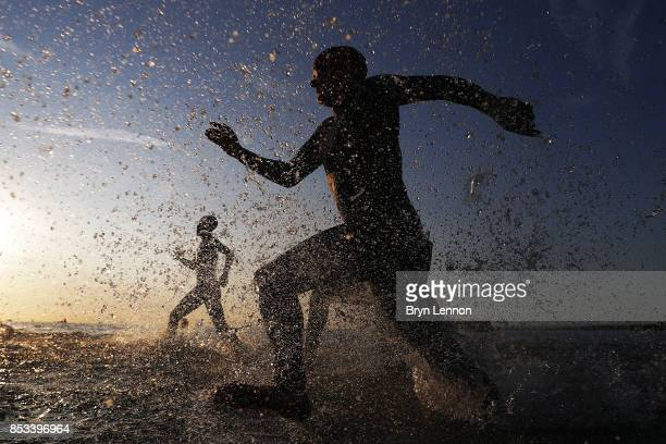 Athletes compete in the swim leg of IRONMAN Italy Emilia Romagna on September 23 2017 in Cervia Italy