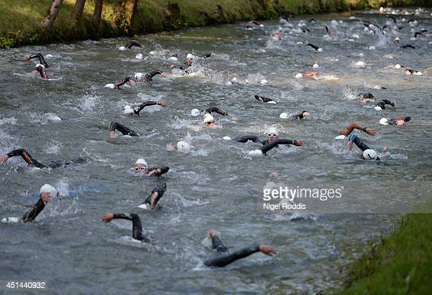 Athletes compete in the swimming during Ironman Austria on June 29 in Klagenfurt Austria