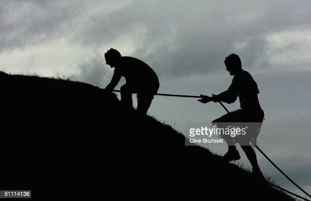 "Athletes compete in the Tough Guy 2005 competition dubbed ""Nettle Warrior VII, Year of the Jungle Fighter"" on July 25, 2004 in Perton, Staffordshire,..."