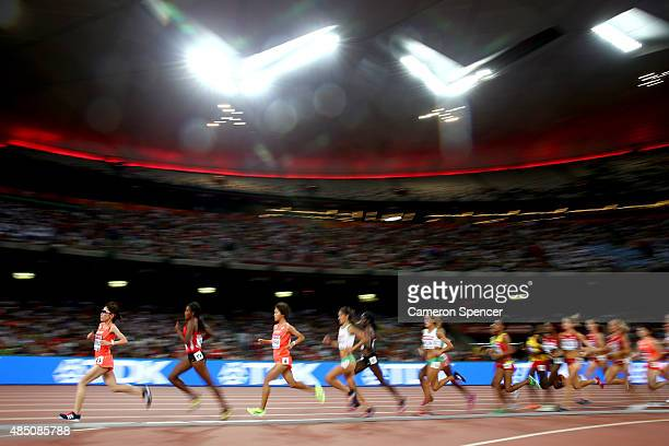 Athletes compete in the Women's 10000 metres final during day three of the 15th IAAF World Athletics Championships Beijing 2015 at Beijing National...