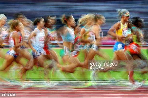Athletes compete in the Women's 10000 metres final during day two of the 16th IAAF World Athletics Championships London 2017 at The London Stadium on...