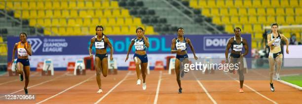 Athletes compete in the Women's 100m during the IAAF Diamond League competition on September 25, 2020 at the Suheim Bin Hamad Stadium in the Qatari...