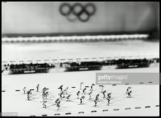Athletes compete in the Women's 125 km Mass Start during day ten of the Sochi 2014 Winter Olympics at Laura Crosscountry Ski Biathlon Center on...