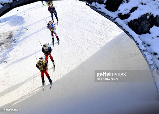 Athletes compete in the women's 12,5km mass start event of the IBU Biathlon World Cup in Hochfilzen, Austria, on December 20, 2020. / Austria OUT