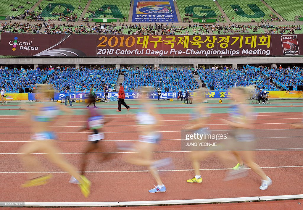 Athletes compete in the women's 1500 meter event of the Daegu Pre-Championships Meeting in Daegu, southeast of Seoul, on May 19, 2010.