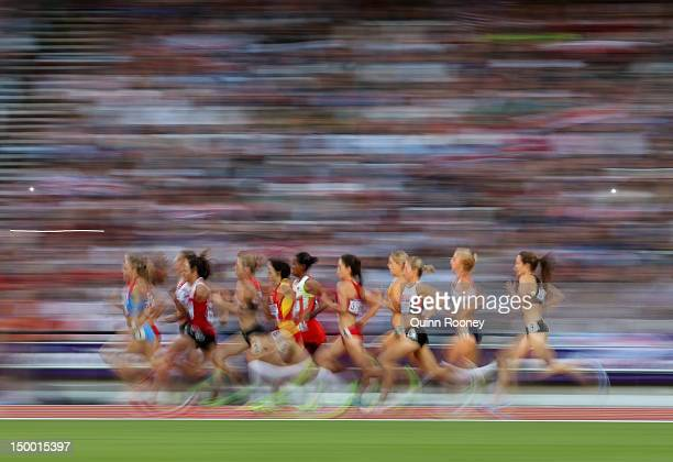 Athletes compete in the Women's 1500m Semi final on Day 12 of the London 2012 Olympic Games at Olympic Stadium on August 8 2012 in London England