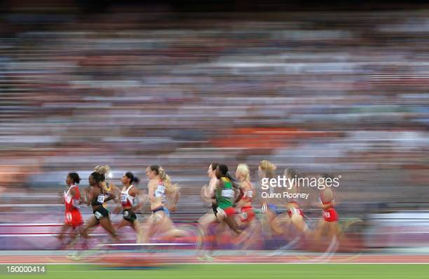 Athletes compete in the Women's 1500m Semifinals on Day 12 of the London 2012 Olympic Games at Olympic Stadium on August 8 2012 in London England