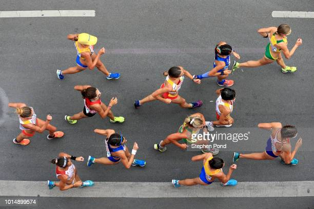 Athletes compete in the Women's 20km Race Walk during day five of the 24th European Athletics Championships on August 11, 2018 in Berlin, Germany....