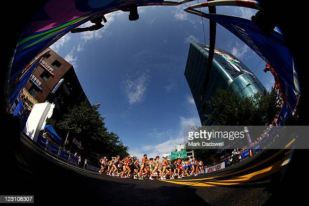 Athletes compete in the women's 20km race walk during day five of the 13th IAAF World Athletics Championships at the Daegu Stadium on August 31, 2011...