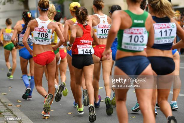 Athletes compete in the women's 20km walk final race during the European Athletics Championships in Berlin on August 11 2018