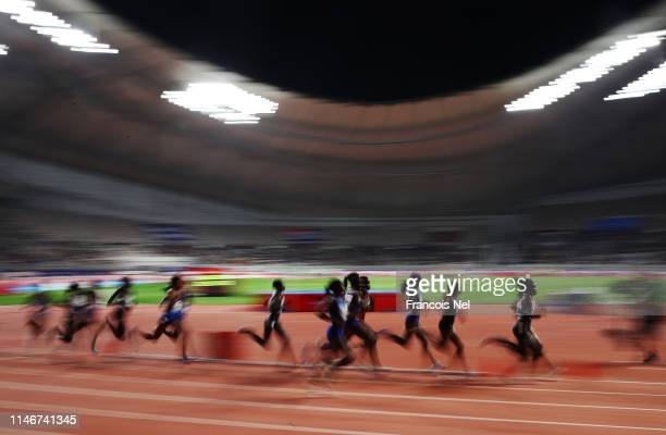 Athletes compete in the Women's 3000 metres during the IAAF Diamond League event at the Khalifa International Stadium on May 03, 2019 in Doha, Qatar.