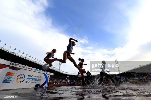Athletes compete in the Womens 3000 Metres Steeplechase during day two of the IAAF Continental Cup at Mestsky Stadium on September 9 2018 in Ostrava...