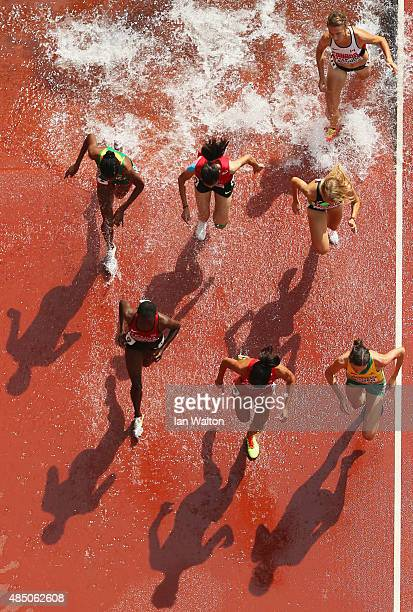 Athletes compete in the Women's 3000 metres steeplechase heats during day three of the 15th IAAF World Athletics Championships Beijing 2015 at...