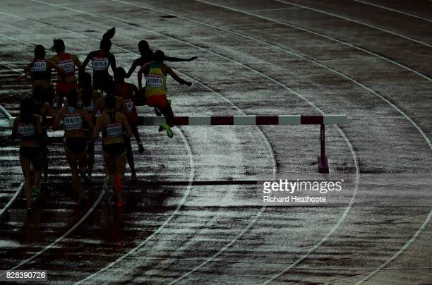 Athletes compete in the Women's 3000 metres Steeplechase heats during day six of the 16th IAAF World Athletics Championships London 2017 at The...