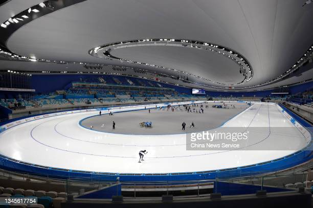 Athletes compete in the Women's 3000m on day one of Speed Skating China Open, a test event of the 2022 Beijing Winter Olympic Games, at the National...