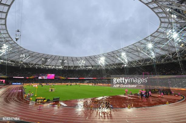 Athletes compete in the women's 3000m steeplechase athletics event at the 2017 IAAF World Championships at the London Stadium in London on August 9...