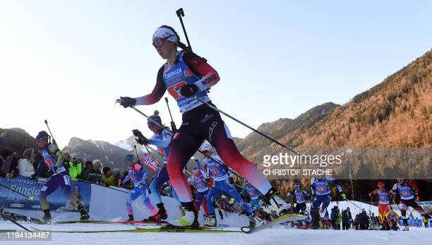 Athletes compete in the women's 4x6km relay event at the Biathlon World Cup in Ruhpolding southern Germany on January 17 2020