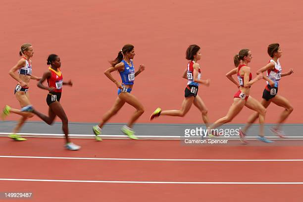 Athletes compete in the Women's 5000m round one on Day 11 of the London 2012 Olympic Games at Olympic Stadium on August 7 2012 in London England