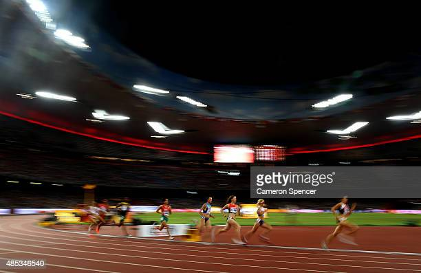 Athletes compete in the Women's 800 metres semifinal during day six of the 15th IAAF World Athletics Championships Beijing 2015 at Beijing National...
