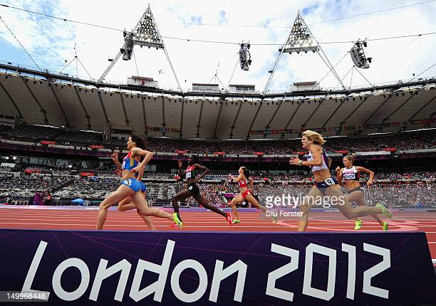 Athletes compete in the Women's 800m Round 1 Heats on Day 12 of the London 2012 Olympic Games at Olympic Stadium on August 8 2012 in London England