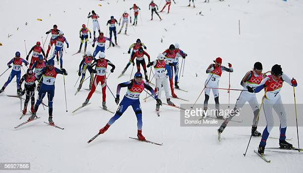 Athletes compete in the Womens Cross Country Skiing 30km Mass Start Final on Day 14 of the 2006 Turin Winter Olympic Games on February 24, 2006 in...