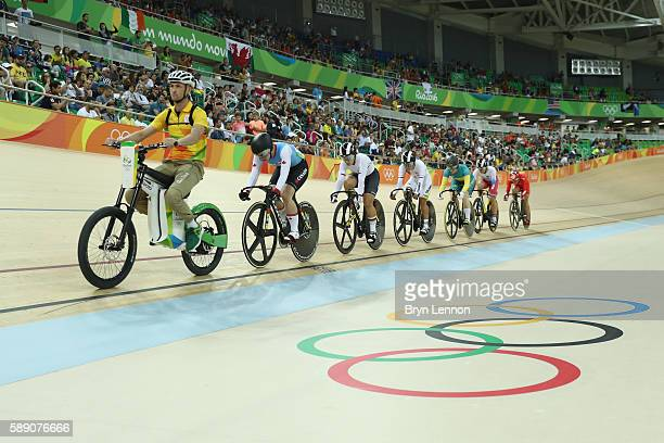 Athletes compete in the Women's Keirin First Round repechages on Day 8 of the Rio 2016 Olympic Games at the Rio Olympic Velodrome on August 13 2016...