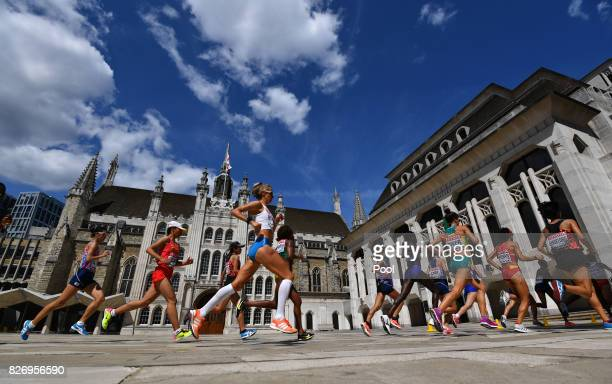 Athletes compete in the Women's Marathon during day three of the 16th IAAF World Athletics Championships London 2017 at The London Stadium on August...