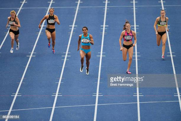 Athletes compete in their Open Womens 200m final during day eight of the 2017 Australian Athletics Championships at Sydney Olympic Park on April 2...