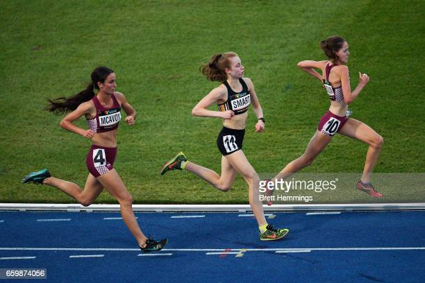 Athletes compete in their U18 Womens 3000m race during day four of the 2017 Australian Athletics Championships at Sydney Olympic Park Sports Centre...