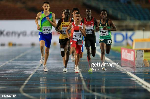 Athletes compete in torrential rain during day one of the IAAF U18 World Championships on July 12 2017 in Nairobi Kenya