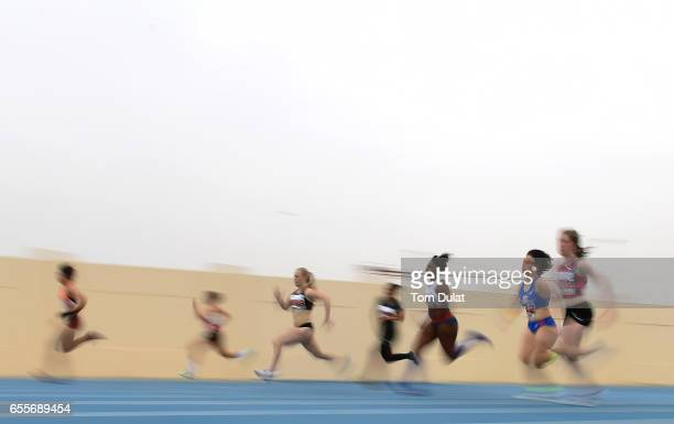 Athletes compete in Women 200m race during the 9th Fazza International IPC Athletics Grand Prix Competition World Para Athletics Grand Prix on March...