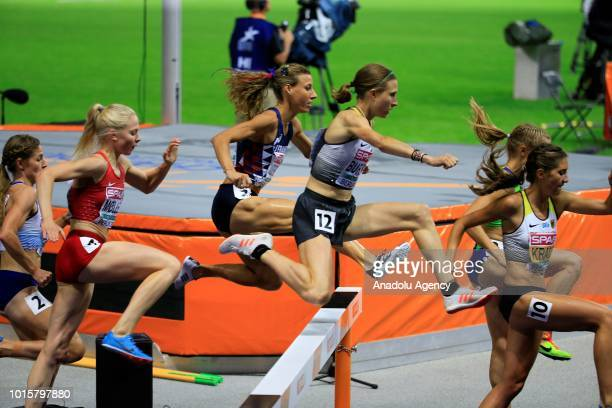 Athletes compete in women's 3000m hurdle race final during the 2018 European Athletics Championships in Berlin Germany on August 12 2018