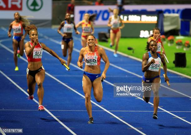 Athletes compete in women's 4x100m relay final during the 2018 European Athletics Championships in Berlin Germany on August 12 2018