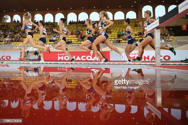 Athletes compete in Women's 5000 metres during the Herculis EBS Monaco 2020 Diamond League meeting at Stade Louis II on August 14, 2020 in Monaco,...