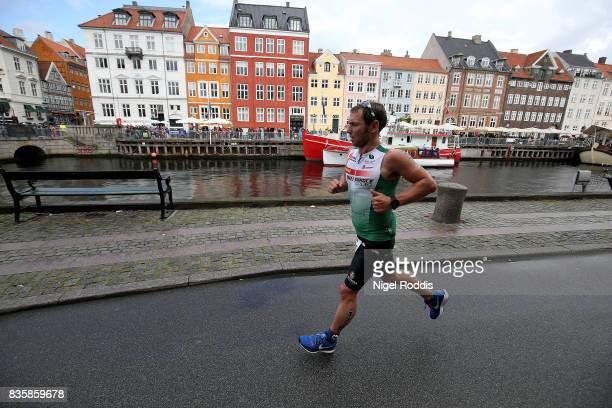 Athletes compete on the run section of KMD IRONMAN Copenhagen on August 20 2017 in Copenhagen Denmark