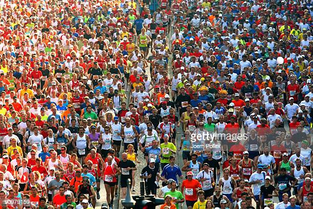 Athletes compete the 36th Berlin Marathon on September 20 2009 in Berlin Germany More than 40000 runners compete in this annual race in the German...