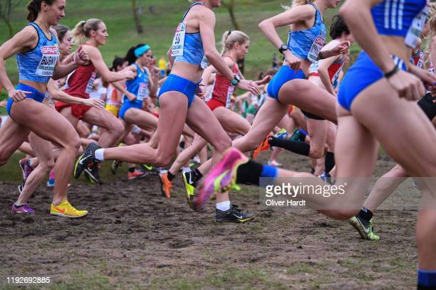 Athletes compete the Senior Women final race of the SPAR European Cross Country Championships at the Parque da Bela Vista on December 08 2019 in...