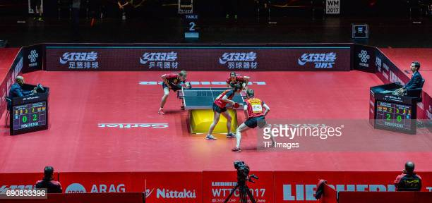 """Athletes compete""""n in action during the Table Tennis World Championship at Messe Duesseldorf on May 30, 2017 in Dusseldorf, Germany."""