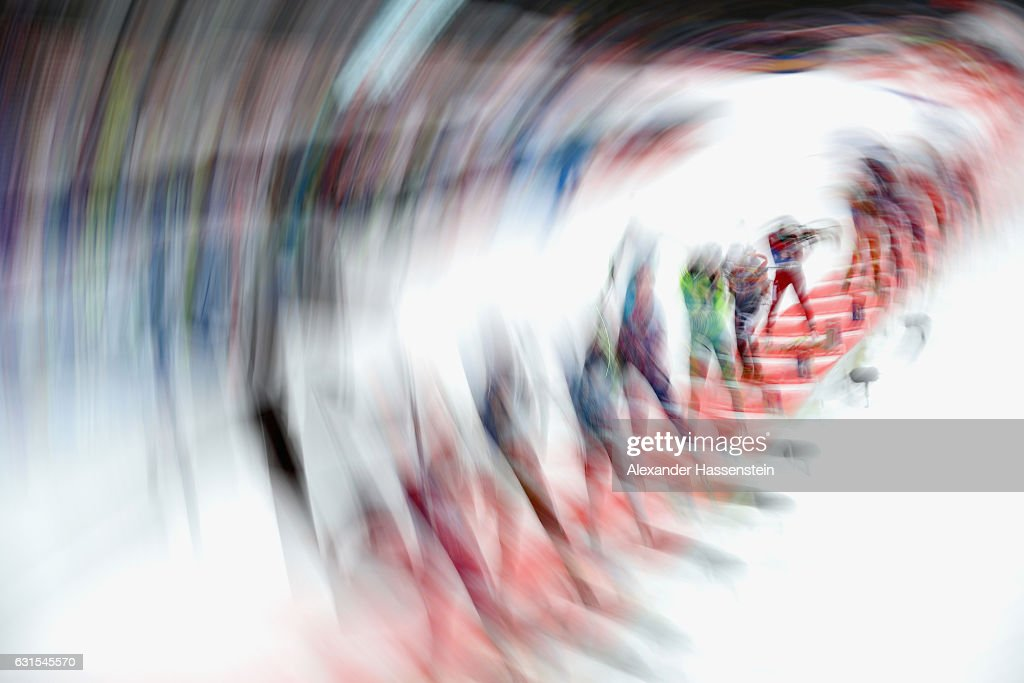 Athletes competes at the shooting range during the 4x6 km Women's Relay during the IBU Biathlon World Cup at Chiemgau Arena on January 12, 2017 in Ruhpolding, Germany.