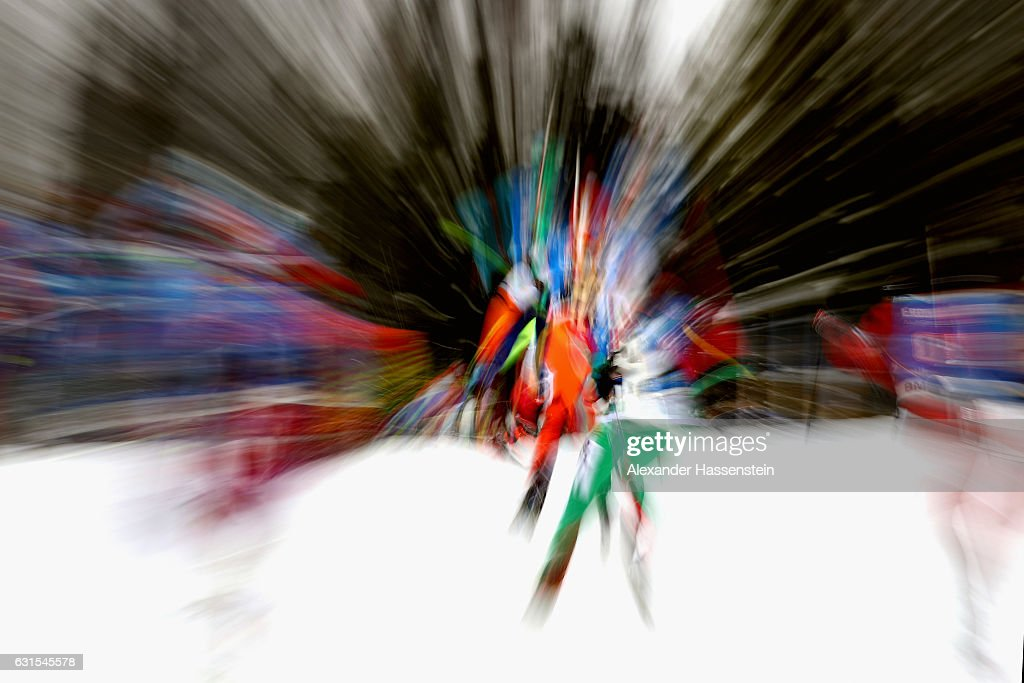 Athletes competes during the 4x6 km Women's Relay during the IBU Biathlon World Cup at Chiemgau Arena on January 12, 2017 in Ruhpolding, Germany.