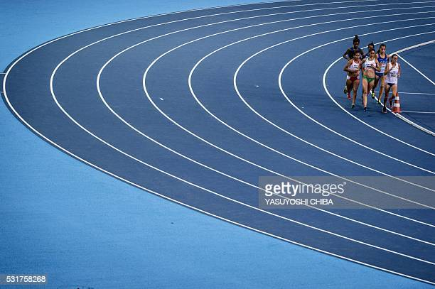 TOPSHOT Athletes competes during the IberoAmerican Athletics Championships women's 5000 meter final a test event for Rio 2016 Olympic Games at the...
