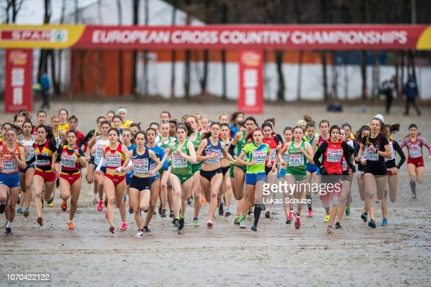 Athletes competes during the U20 Women's race of the SPAR European Cross Country Championships on December 9 2018 in Tilburg Netherlands