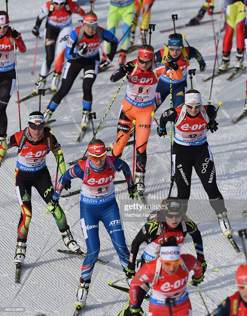 Athletes competes during the women 4 x 6 km relay event in the IBU Biathlon World Cup on December 13, 2014 in Hochfilzen, Austria.
