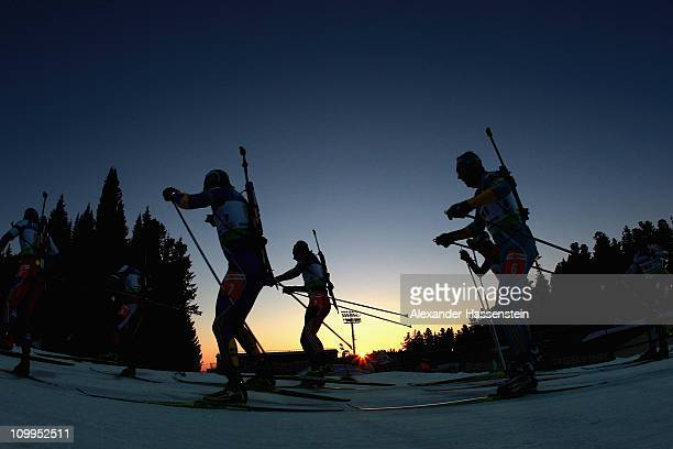 Athletes competes in men's relay during the IBU Biathlon World Championships at AV Philipenko winter sports centre on March 11 2011 in KhantyMansiysk...