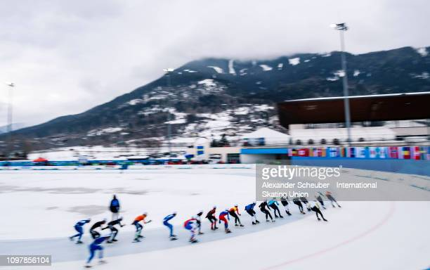 Athletes competes in the Mens Mass Start sprint race during the ISU Junior World Cup Speed Skating Final Day 2 on February 9 2019 in Trento Italy